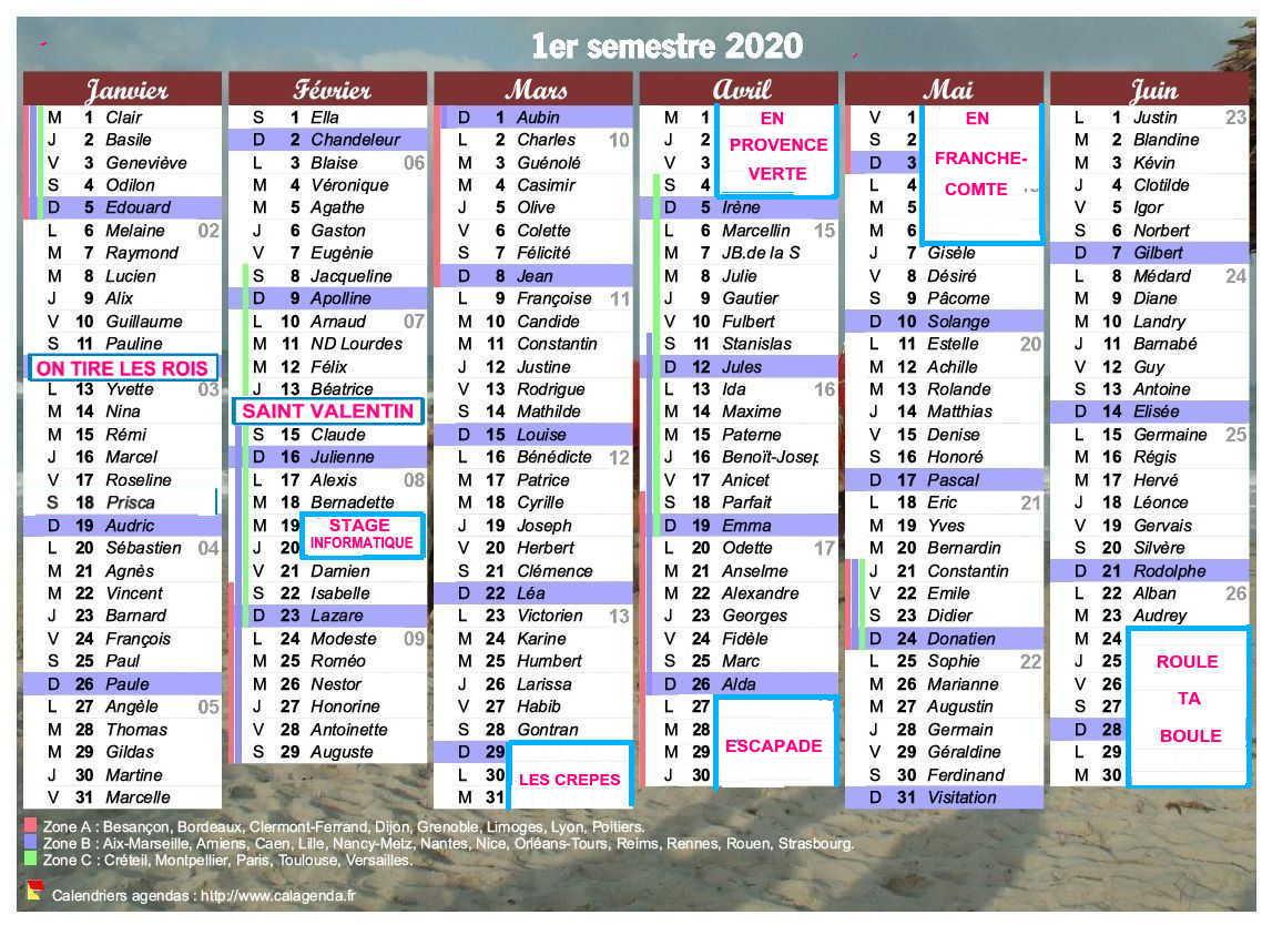 PACA – S20 – Sorties prévisionnelles au premier semestre 2020